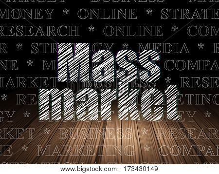Marketing concept: Glowing text Mass Market in grunge dark room with Wooden Floor, black background with  Tag Cloud