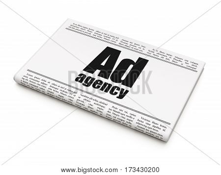 Marketing concept: newspaper headline Ad Agency on White background, 3D rendering
