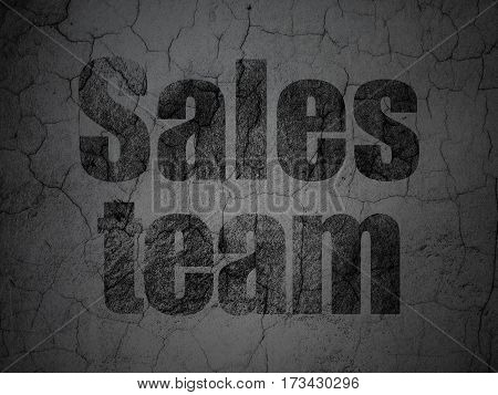 Advertising concept: Black Sales Team on grunge textured concrete wall background