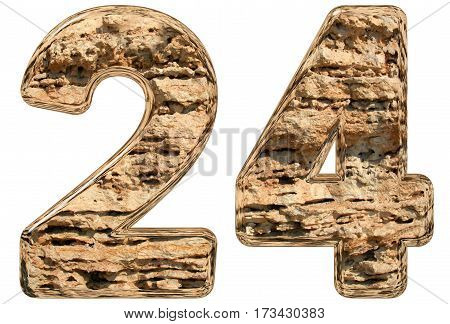 Numeral 24, Twenty Four, Isolated On White, Natural Limestone, 3D Illustration