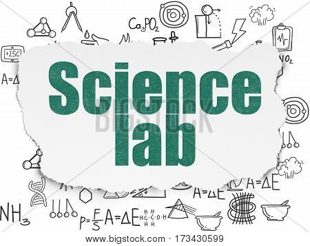 Science concept: Painted green text Science Lab on Torn Paper background with  Hand Drawn Science Icons