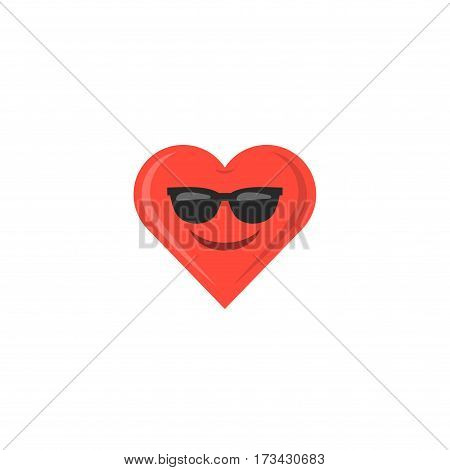 Abstract funny flat style valentine's day emoticon icon