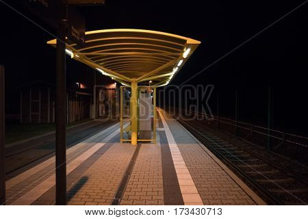 GERA, GERMANY - APRIL 05,2016: Railways station of Gera at night.