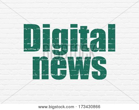 News concept: Painted green text Digital News on White Brick wall background