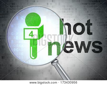 News concept: magnifying optical glass with Microphone icon and Hot News word on digital background, 3D rendering