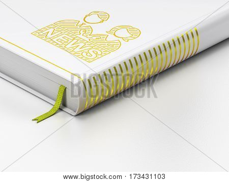 News concept: closed book with Gold Anchorman icon on floor, white background, 3D rendering