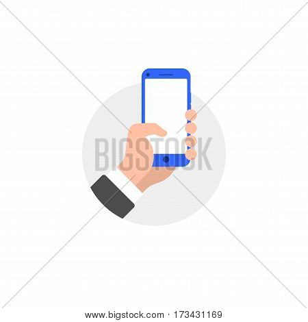 Hand with smartphone flat style illustration icon