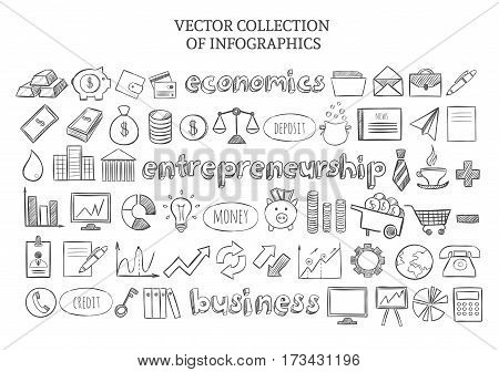Infographic economics elements set of business financial and entrepreneurship icons in sketch style isolated vector illustration