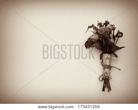 Wilted bouquet on snow background, dried bouquet