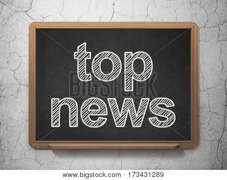 News concept: text Top News on Black chalkboard on grunge wall background, 3D rendering