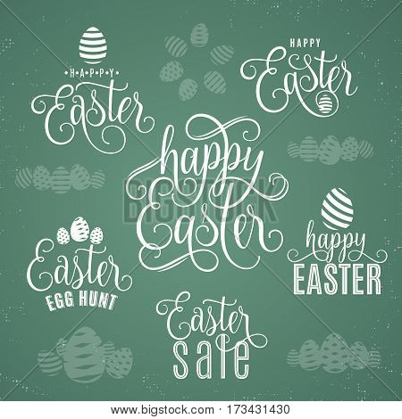 Vector illustration of happy easter lettering typography greeting text sign with eggs isolated on dark background. Hand drawing easter wishing with flourishes graphic elements