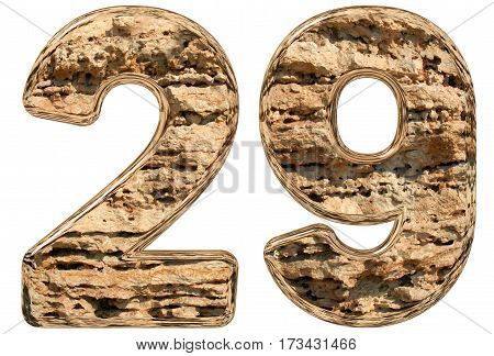Numeral 29, Twenty Nine, Isolated On White, Natural Limestone, 3D Illustration