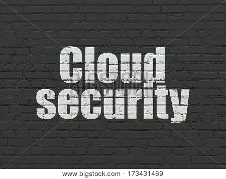 Cloud technology concept: Painted white text Cloud Security on Black Brick wall background
