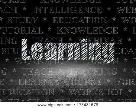 Studying concept: Glowing text Learning in grunge dark room with Dirty Floor, black background with  Tag Cloud