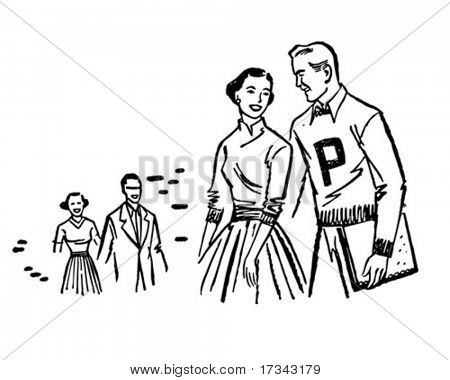 Campus Couple - Retro Clip Art