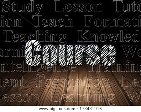 Studying concept: Glowing text Course in grunge dark room with Wooden Floor, black background with  Tag Cloud