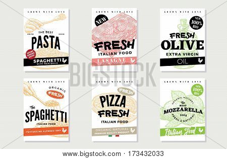 Hand drawn italian food brochures with traditional meals and ingredients of national cuisine vector illustration