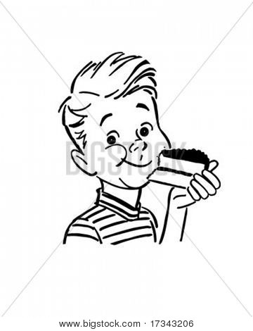 Boy Eating Cake - Retro Clip Art