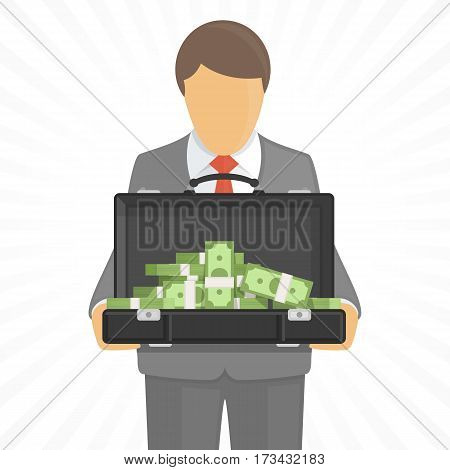 Man holding open suitcase with big pile of money. Successful businessman with briefcase full of dollars. Business, wealth, winnings money concept. Vector illustration in flat style. EPS 10.