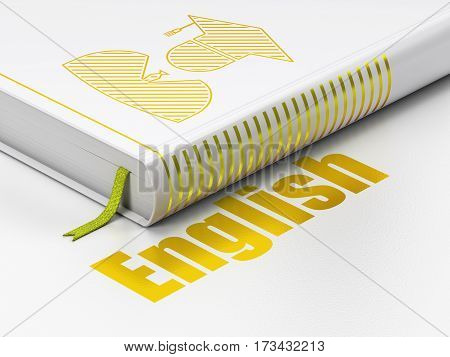 Studying concept: closed book with Gold Student icon and text English on floor, white background, 3D rendering