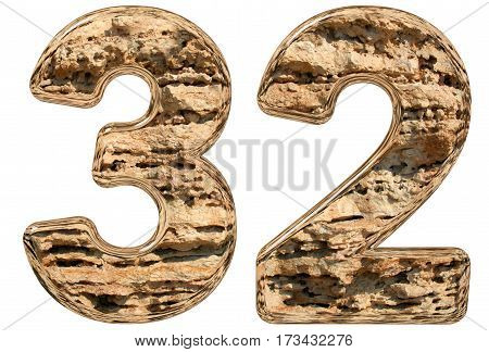 Numeral 32, Thirty Two, Isolated On White, Natural Limestone, 3D Illustration