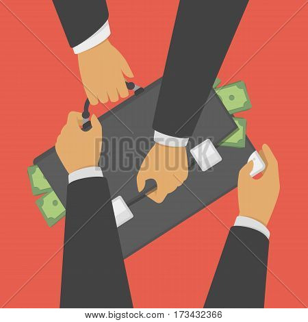 Struggle for money vector illustration. Concept of Business competition marketing war. Two businessmen pull suitcase with money for market customer share. Symbol of rivalry, competition or conflict.