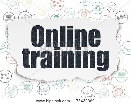 Education concept: Painted black text Online Training on Torn Paper background with Scheme Of Hand Drawn Education Icons