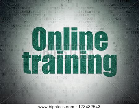 Education concept: Painted green word Online Training on Digital Data Paper background