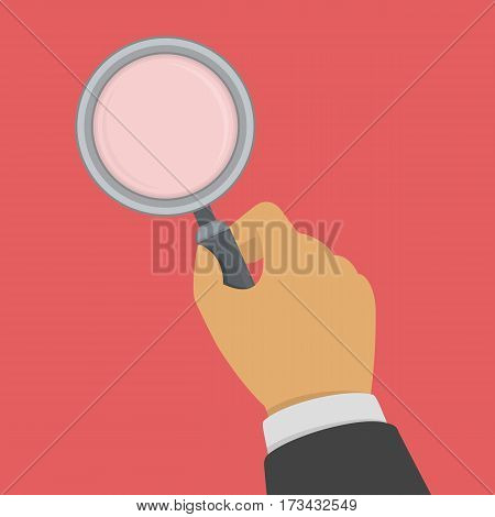 Magnifying glass in businessman hand. Analysis, exploration, zoom, scrutiny, audit, inspection concepts. Vector illustration in flat style EPS 10