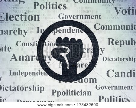 Politics concept: Painted black Uprising icon on Digital Data Paper background with  Tag Cloud