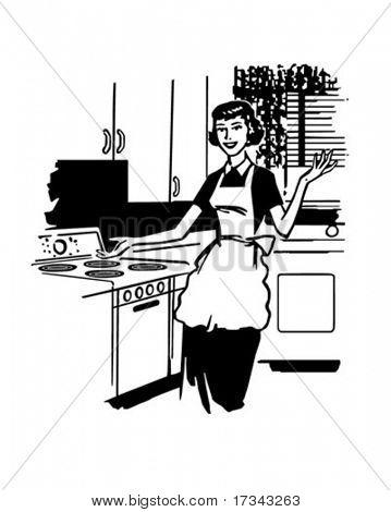 Modern Housewife - Retro Clip Art