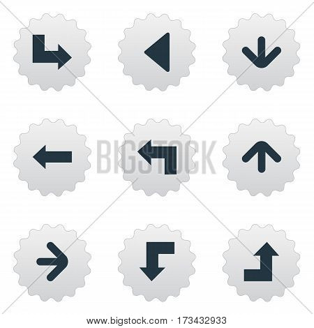 Set Of 9 Simple Pointer Icons. Can Be Found Such Elements As Downwards Pointing, Pointer, Reduction And Other.