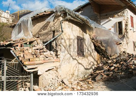 The frightening effect of earthquake , Campi di Norcia