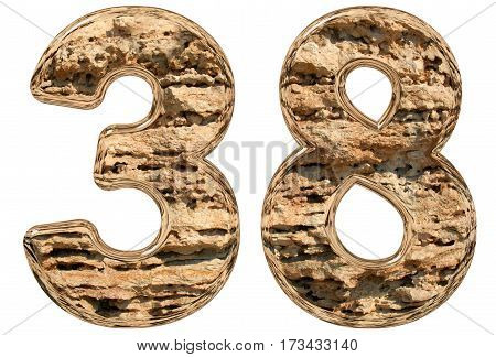 Numeral 38, Thirty Eight, Isolated On White, Natural Limestone, 3D Illustration