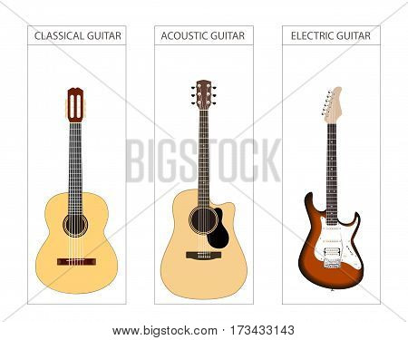 Set of guitar acoustic, electric and classical. Vector illustration