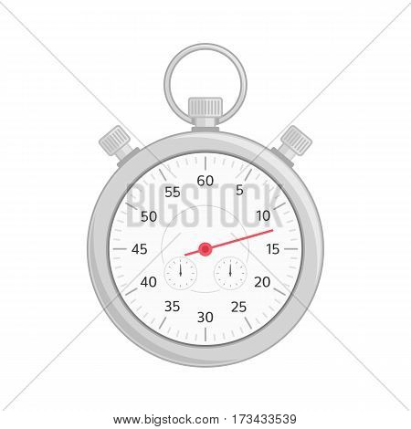 Stopwatch vector icon isolated on white background. Classic stopwatch for sports in modern flat style. Time concept. EPS 10.