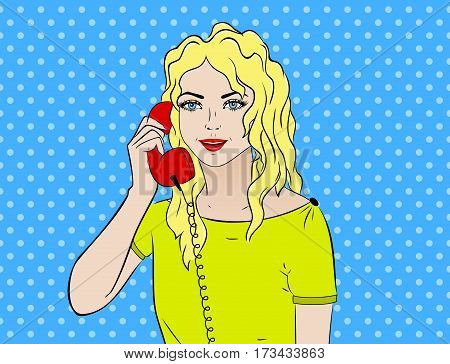 Pop art vintage comic. Girl talking on the phone. Comic book Retro style. Technology and communication.