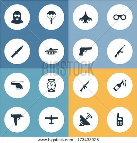 Set Of 16 Simple Army Icons. Can Be Found Such Elements As Sky Force, Rifle Gun, Cold Weapon And Other.