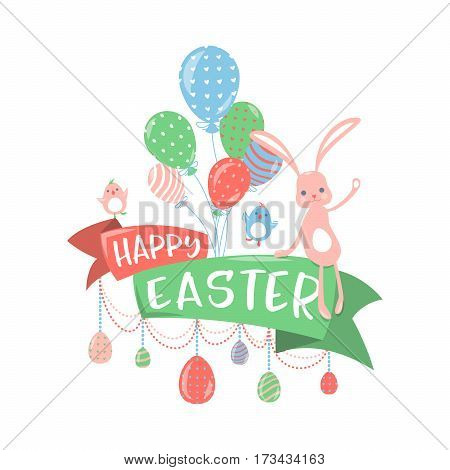 Vector illustration of happy easter greeting concept with fun balloon, cute singing little birds, cool bunny waving hand and sitting on ribbon, eggs hanging on the beads isolated on white background