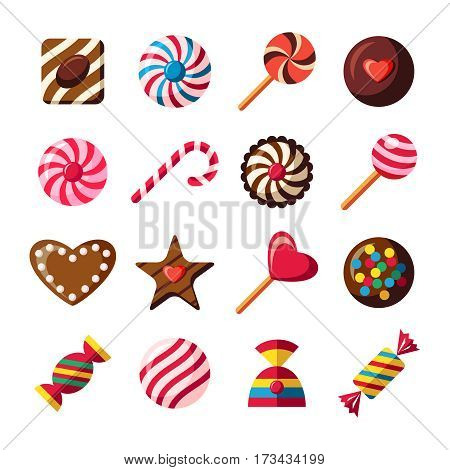 sweet candy icons set, chocolate shapes, vector