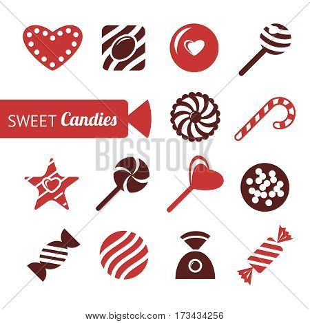 sweet candy icons, chocolate shapes, vector icons set