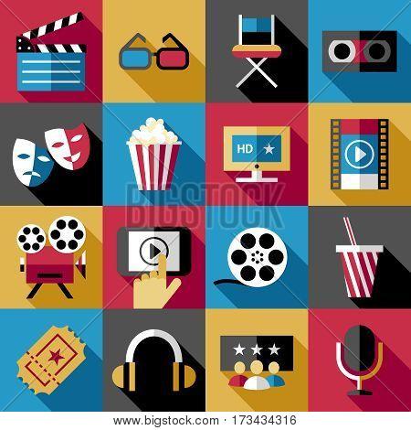 movie, cinema icons set, vector cartoon signs