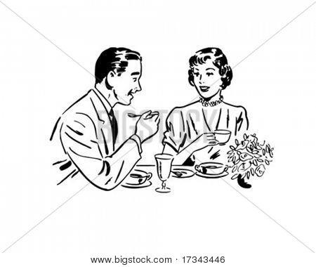 Couple Dining - Retro Clip Art