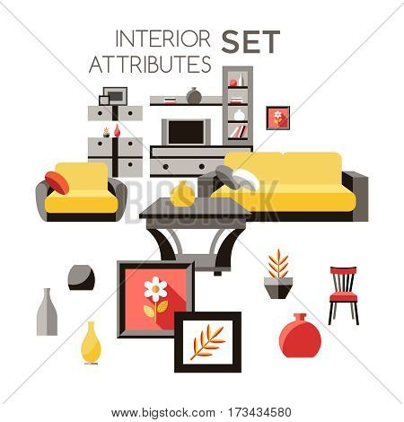 furniture interior icons in flat style vector set, design