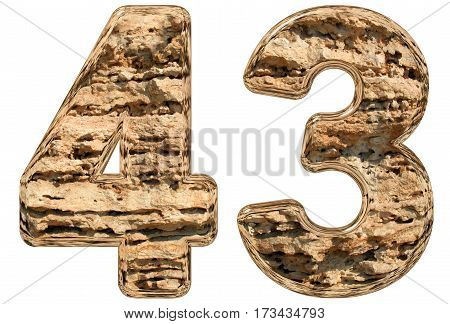 Numeral 43, Forty Three, Isolated On White, Natural Limestone, 3D Illustration
