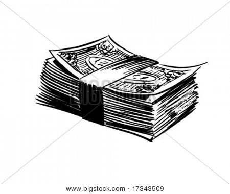 Stack Of Bills - Retro Clip Art