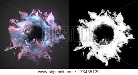 Abstract chemical dust wave with glowing ball in the middle plus alpha channel 3d rendering