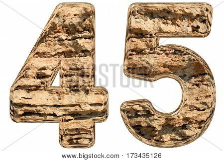 Numeral 45, Forty Five, Isolated On White, Natural Limestone, 3D Illustration
