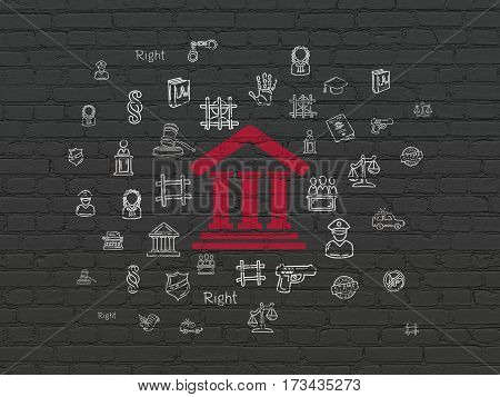 Law concept: Painted red Courthouse icon on Black Brick wall background with  Hand Drawn Law Icons