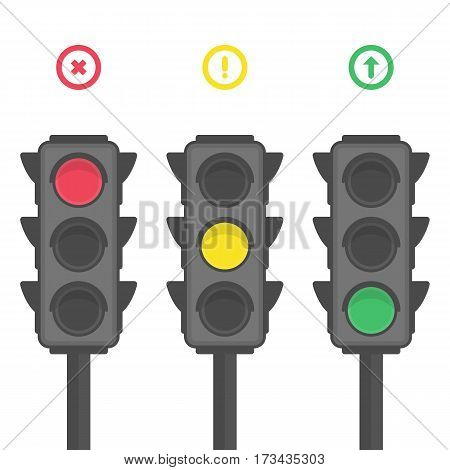 Set of vector traffic lights isolated on white background. Red, yellow, green lights - go, wait, stop. EPS 10.